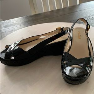 Women's Prada black patent leather sandals